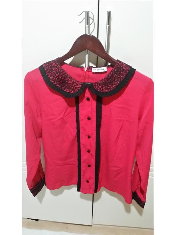 Bonprix Kadın Kırmızı Düğmeli şifon Gömlek - ₺60,